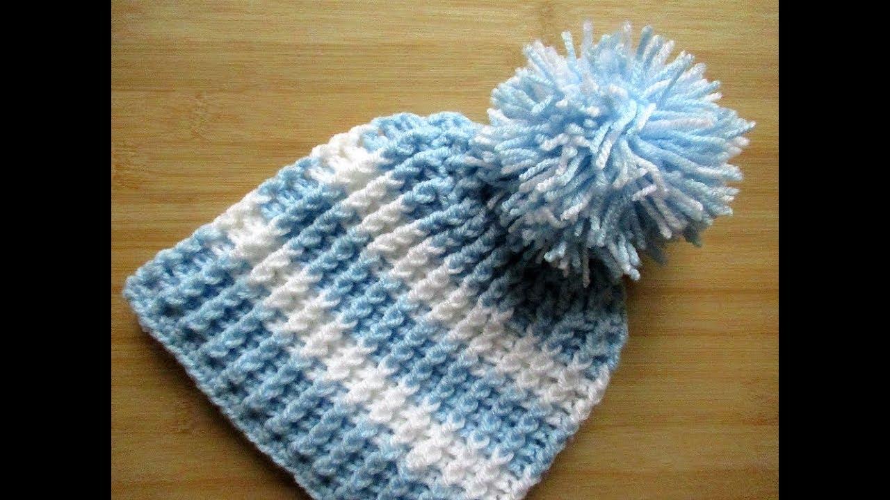 Crochet Baby Beanie Hat Toddler 12 24 Months 16 18 Tutorial Happy