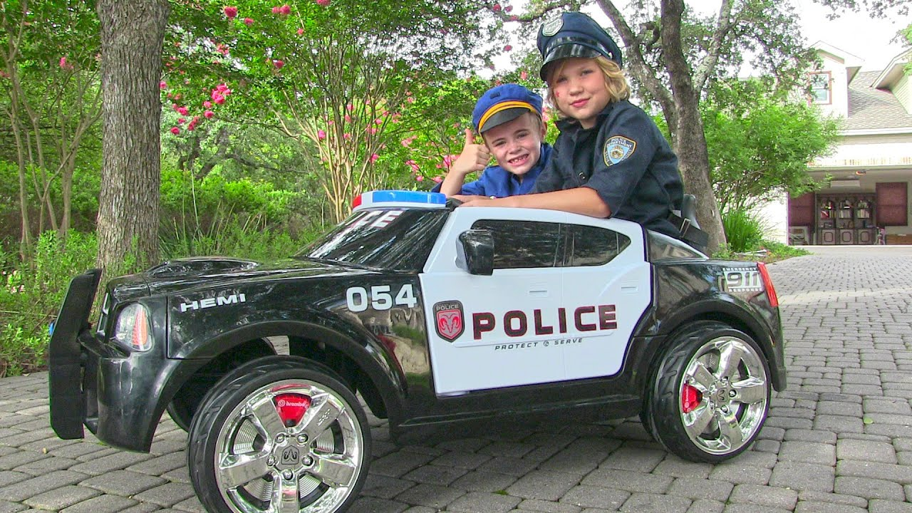 ride on police car for kids unboxing review and riding dodge charger youtube