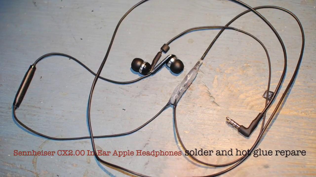 repair your broken sennheiser in ear headphones microphone fine wire soldering [ 1280 x 720 Pixel ]
