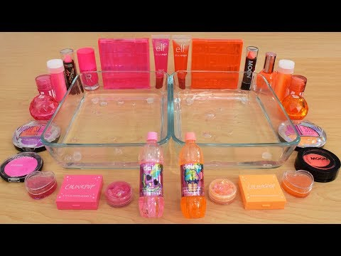 Pink vs Orange - Mixing Makeup Eyeshadow Into Slime Special Series 180 Satisfying Slime Video