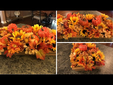 Fall Pumpkin Flower Arrangement And Wooden Container DIY 2018