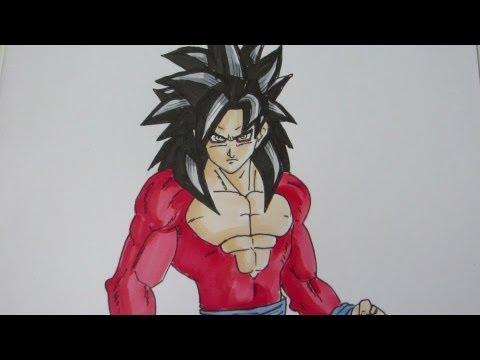 How to draw Goku Super Saiyan 4 SSJ4 孫 悟空 超サイヤ人4