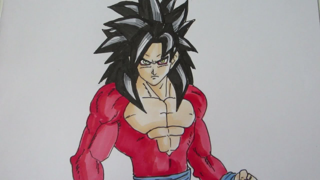 How to draw Goku Super Saiyan 4 SSJ4 孫 悟空 超サイヤ人4 - YouTube