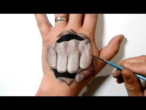 Fist Punch Through Hand - Cool 3D Trick Art