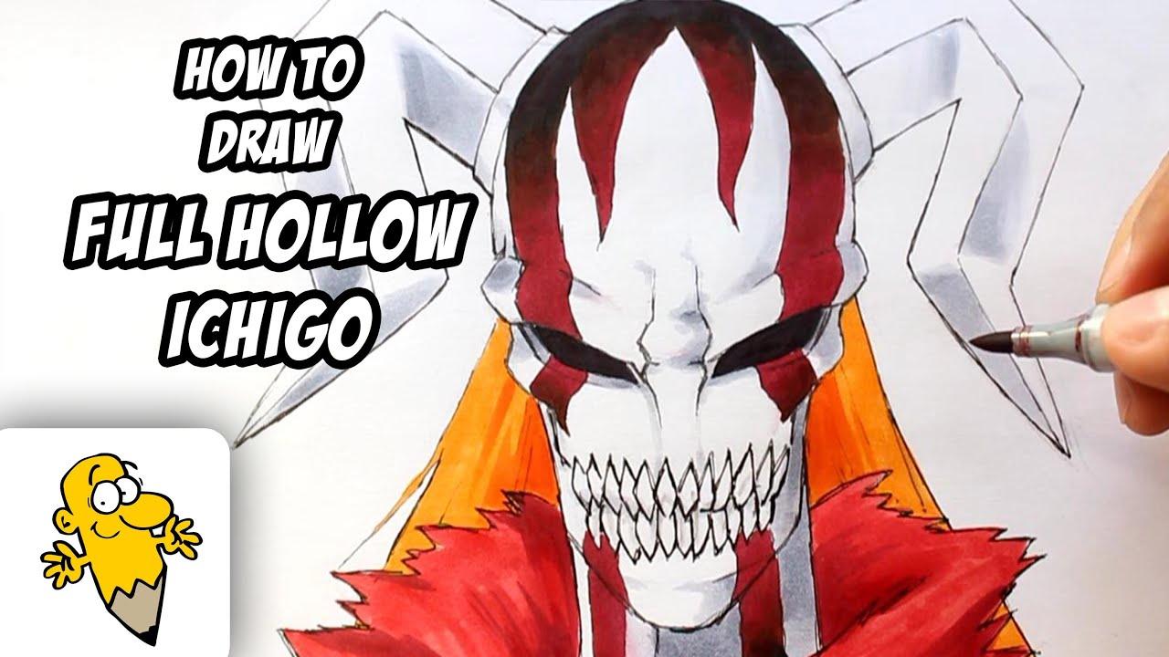 How to draw full hollow ichigo bleach drawing tutorial