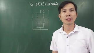 Vẽ hình chiếu cạnh - Hình cắt - Hình chiếu trục đo Gá lỗ chữ nhật - Hình 3 Bài 6 SGK Công nghệ 11