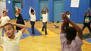Yoga class at P.S. 26 in Brooklyn