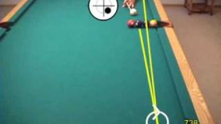 Famous pool and billiards artistic or trick shots (line of 4 balls, butterfly shot)