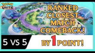 Most Stressful Closest Match by 1 POINT - Solo Ranked Queue - Pokemon Unite