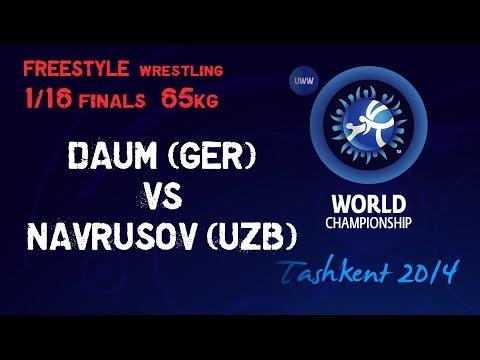 1/16 final - Freestyle Wrestling 65 kg - M. DAUM (GER) vs I. NAVRUSOV (UZB) - Tashkent 2014