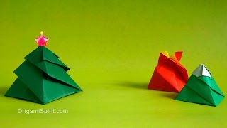 Origami Christmas tree Box -3 Variations : : Caja Remolino