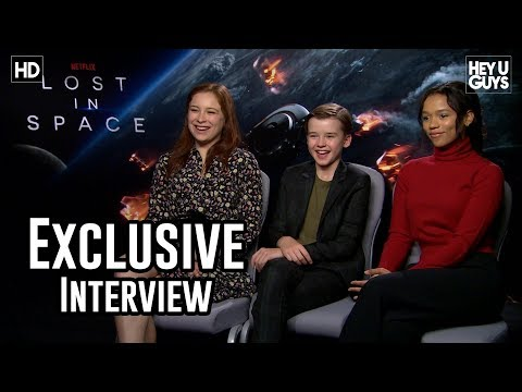 Maxwell Jenkins,  Mina Sundwall & Taylor Russell  the new kids in Lost In Space  Exclusive