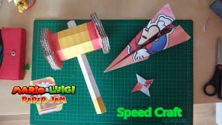 Trio Attack Hammer Papercraft, Plane & Shuriken Mario Origami /Mario & Luigi: Paper Jam Bros!
