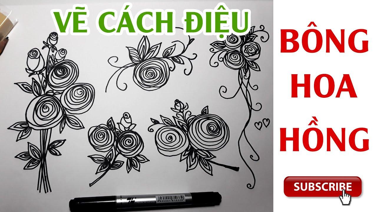 vẽ cách điệu Bông Hoa Hồng / How to draw stylized Rose Flowers/#Stylized /#vecachdieu #happysmileart