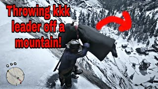 Throwing kkk leader down a mountain! Red Dead Redemption 2