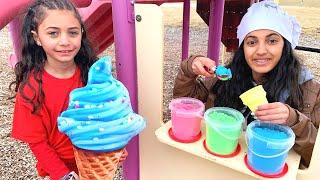 Heidi e Zidane brincam de sorveteria com Hadil - coleção de histórias
