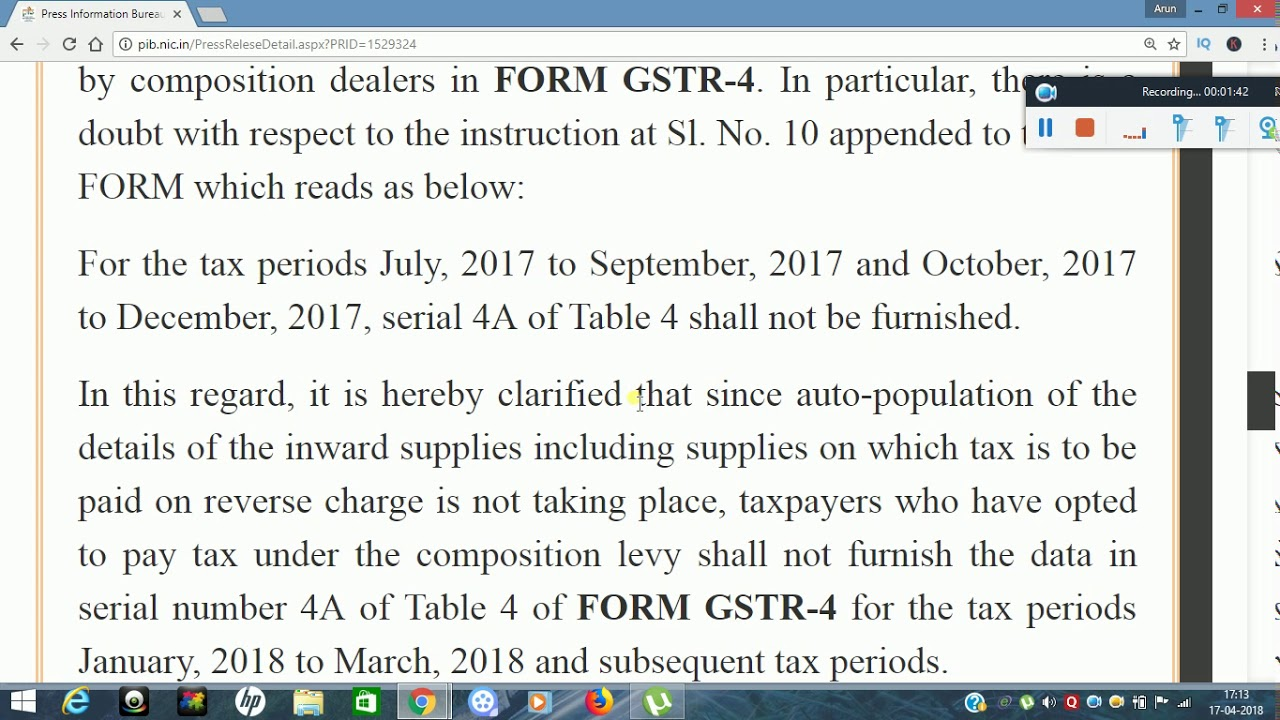 Press Release - GSTR 4 Clarification on Table 4A