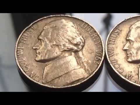 Rare and Expensive US Coins 1963 Varieties Jefferson Nickel Five Cents Numismatics My Collection