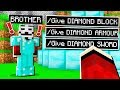 My Little Brother CAUGHT HACKING on *SECRET* Minecraft PE World!