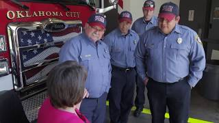Accident victim meets firefighters