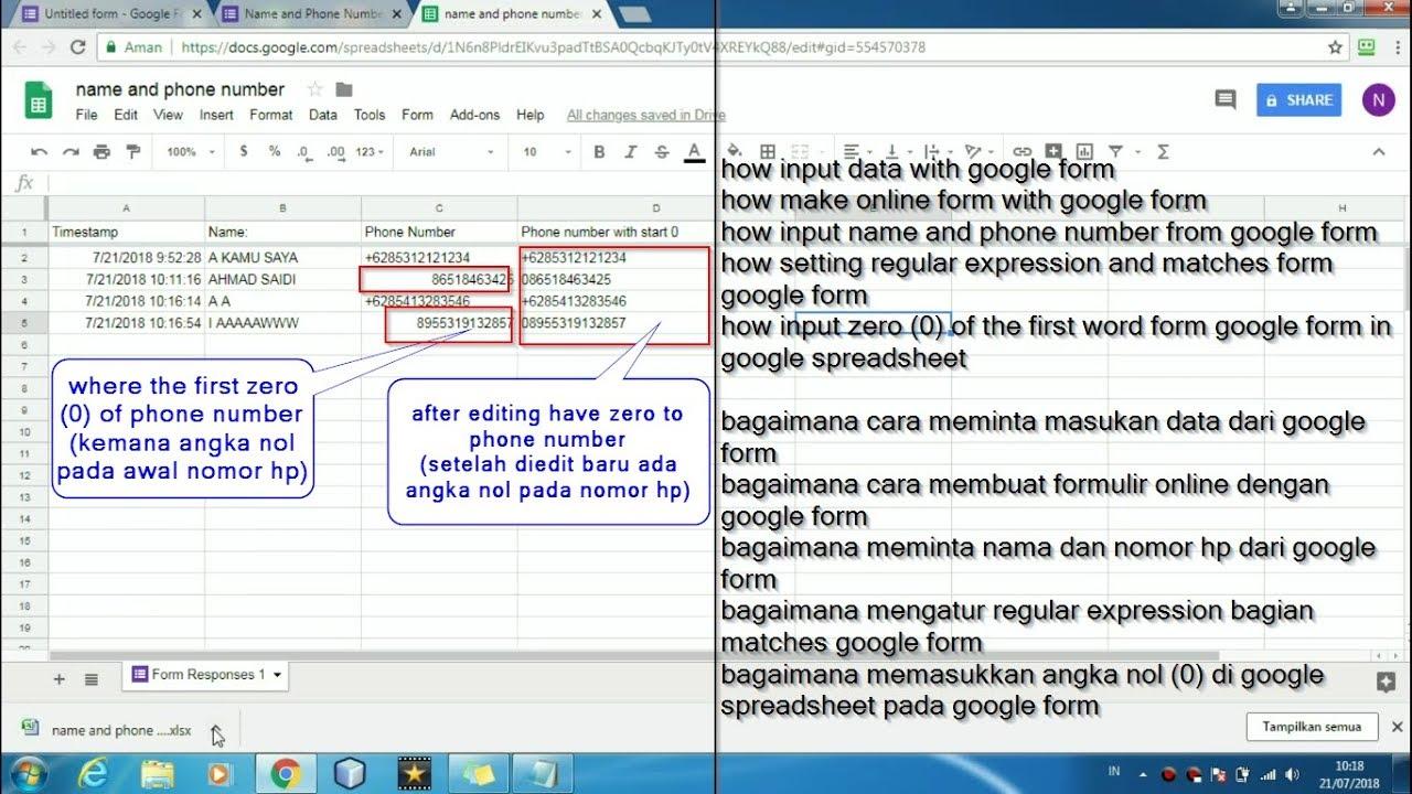 best way input name and phone number form google form (angka nol di awal  kata di google form)