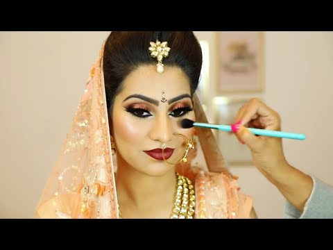 Dramatic Double Winged Smokey Eyes & Dark Red Lipstick - Indian Bridal Makeup | Shruti Arjun Anand