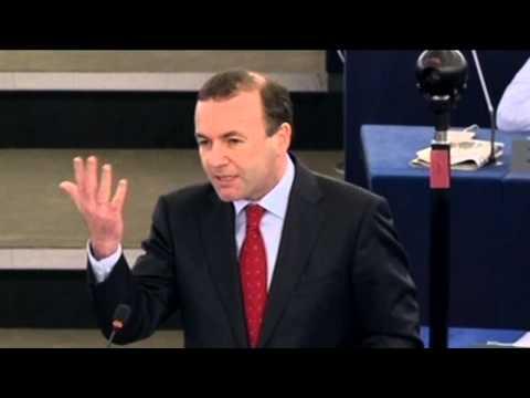 Manfred Weber anlässlich des Besuchs von Alexis Tsipras im Europäischen Parlament am 8. Juli 2015
