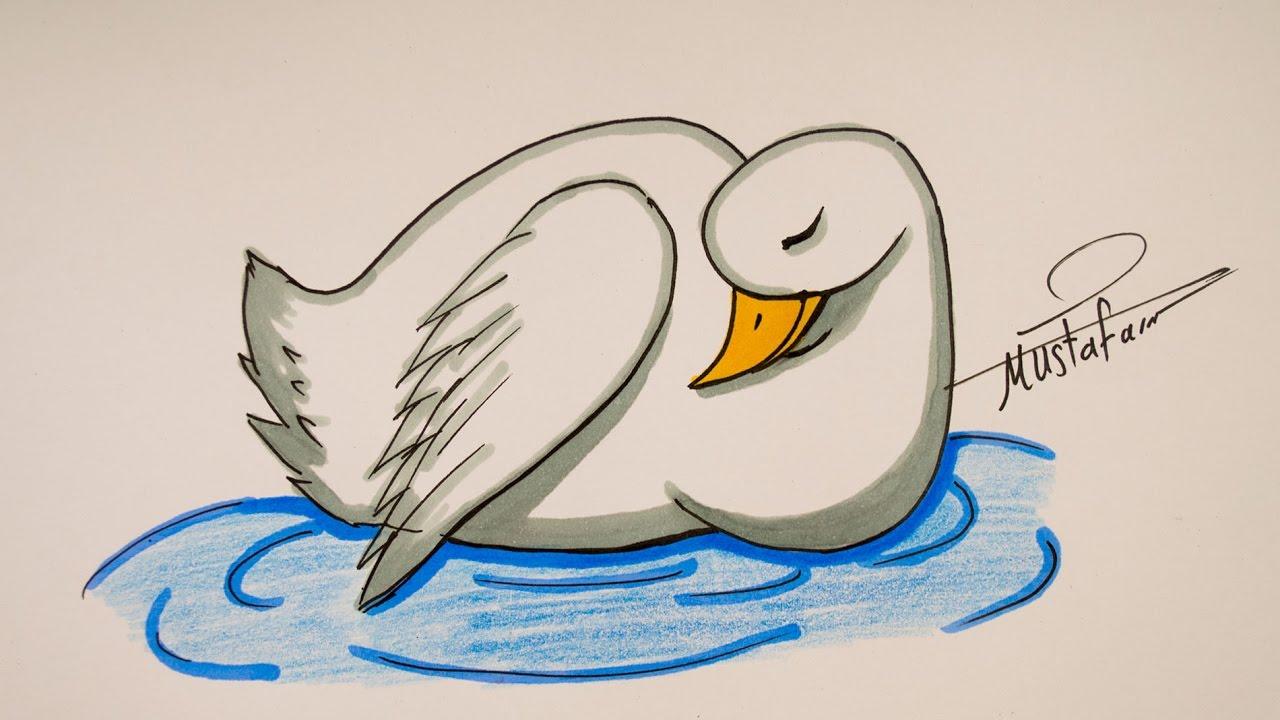 تعليم الرسم للاطفال تعليم رسم بجعة خطوة بخطوة Youtube