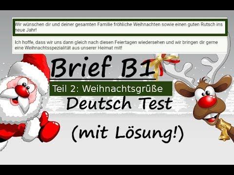 Weihnachtsgrüße Schreiben.Brief Schreiben Deutsch B1 A2 Testtraining German Letter Writing B1 A2 Weihnachtsgrüße Teil 2