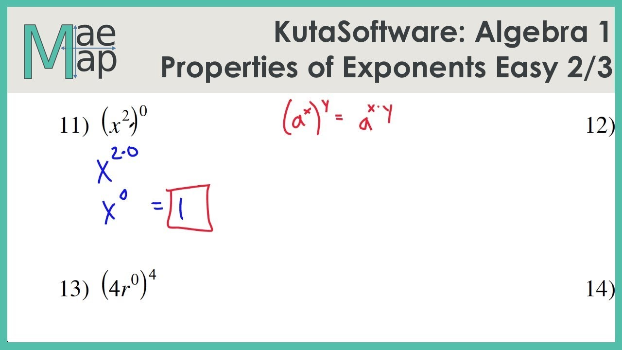 Kutasoftware Algebra 1 Properties Of Exponents Easy Part 2 Youtube