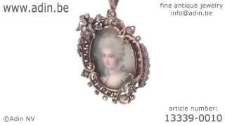 Victorian miniature portrait in diamond wreath gold and silver pendant. (Adin reference: 13339-0010)