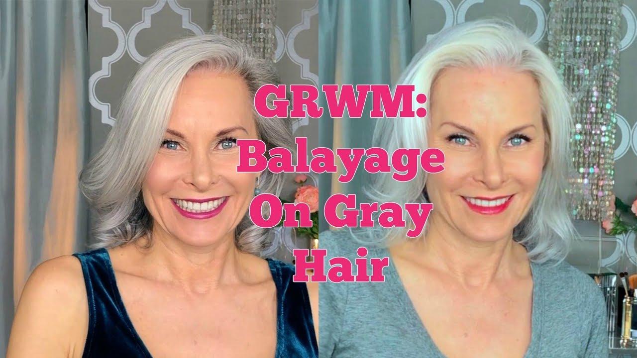 Grwm Balayage On Gray Hair Youtube