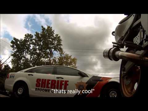Cop Pulls out in front of motorcycle to stop him for speeding; almost causes crash (I posted this before but the vid got deleted)
