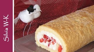 Erdbeerrolle - Biskuitrolle / ohne Gelatine