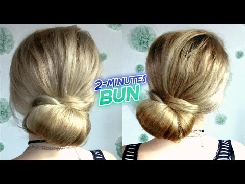 Super Easy Hairstyle Quick 2 Minutes Elegant Low Bun Updo Awesome