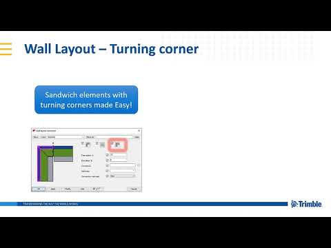 New for precast wall layout: turning corner - Tekla Structures 2020