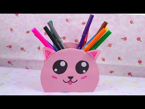 DIY Recycled CD Kawaii Pen Holder - Best Out of Waste Easy Craft Ideas.