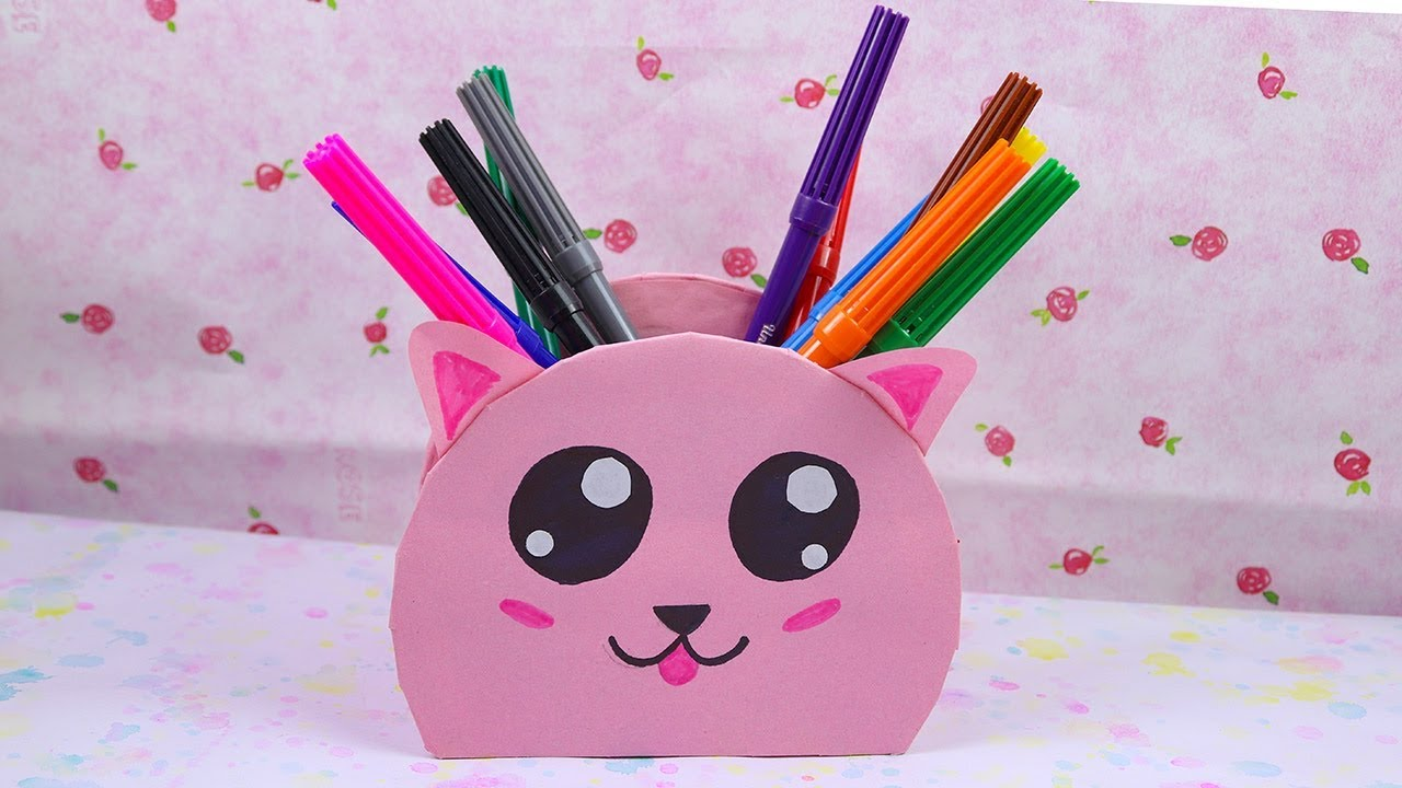 DIY Recycled CD Kawaii Pen Holder - Best Out of Waste Easy Craft Ideas. - YouTube