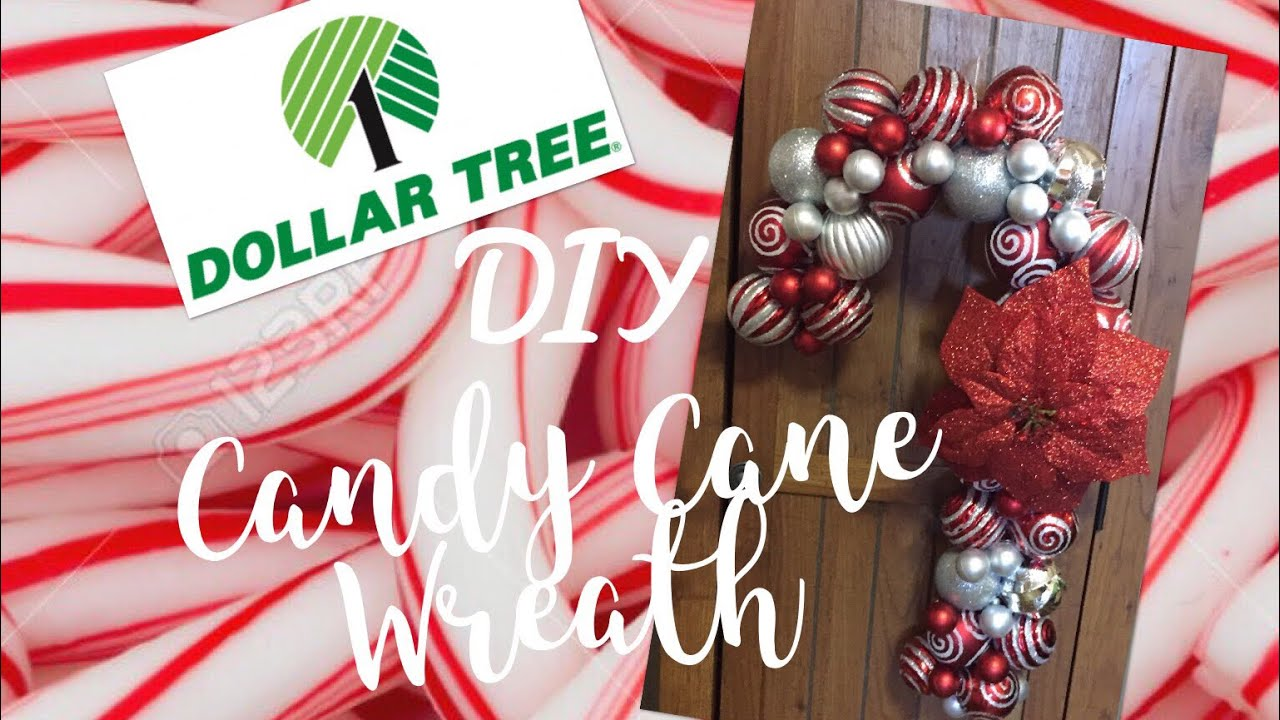 dollar tree diy ornament candy cane wreath tutorial