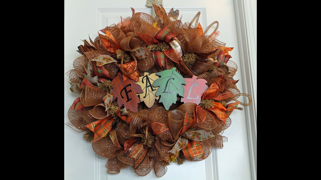 How To Make A Fall Deco Mesh Wreath Poof Curl Method Youtube