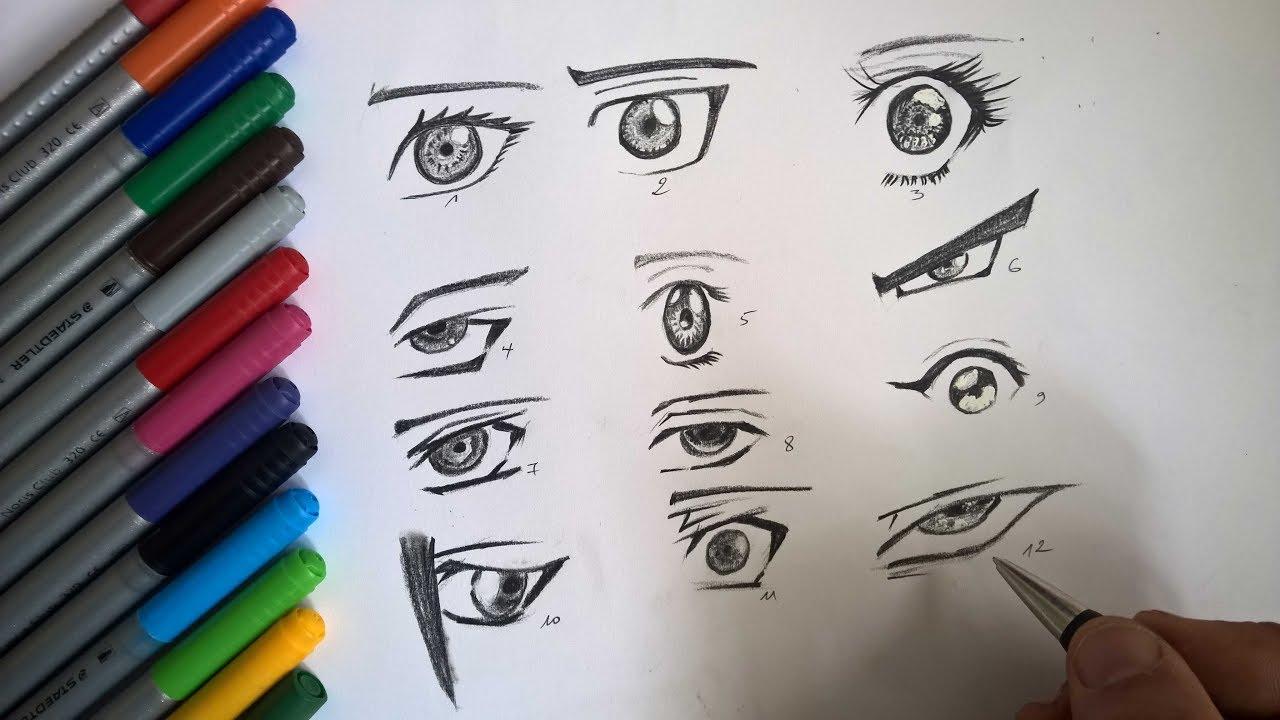 رسم عيون انمي للمبتدئين طريقة رسم عين مانجا الأنمي Youtube