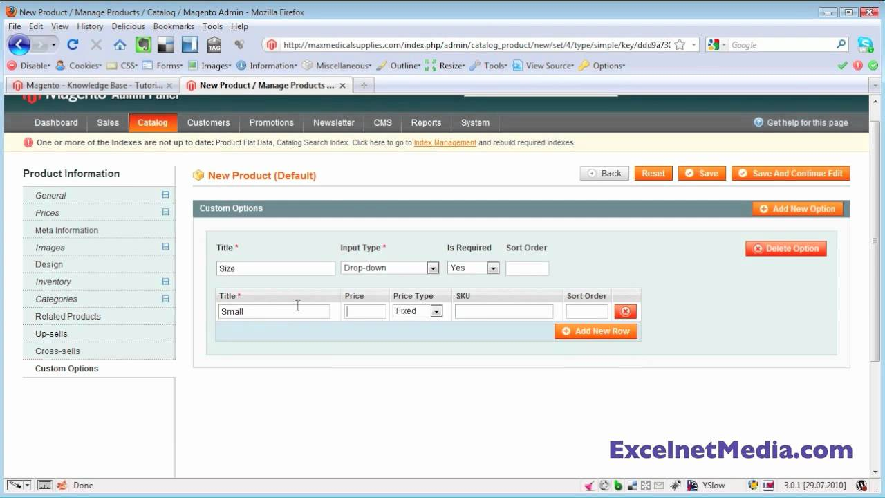 Adding Custom Product Options in Magento