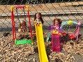 Barbie PARK! Swing set! Slide! Riley CRIES!