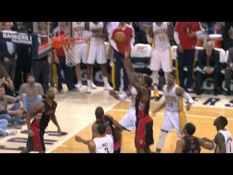 Amir Johnson scores 4 pts in final 10 seconds of regulation to tie game Pacers-Raptors 2-8-13