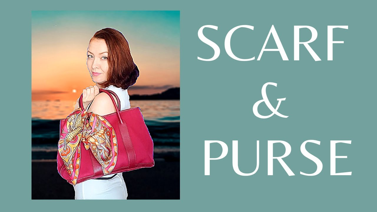 7 different ways to wear your scarf with purse. Easy tutorial on how to tie a scarf to your handbag.