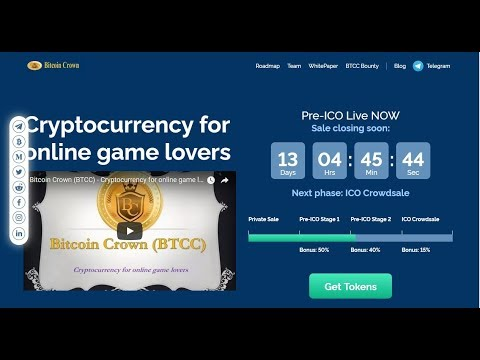 Bitcoin Crown Cryptocurrency For Online Game Lovers Early Bird 40% Pre ICO Bonus