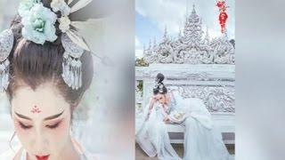 สาวจีนแต่งชุดฮั่นฝูถ่ายรูปที่วัดร่องขุ่น