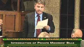 Frank present`s his Private Member`s Bill C-247: An Act to expand the mandate of Service Canada