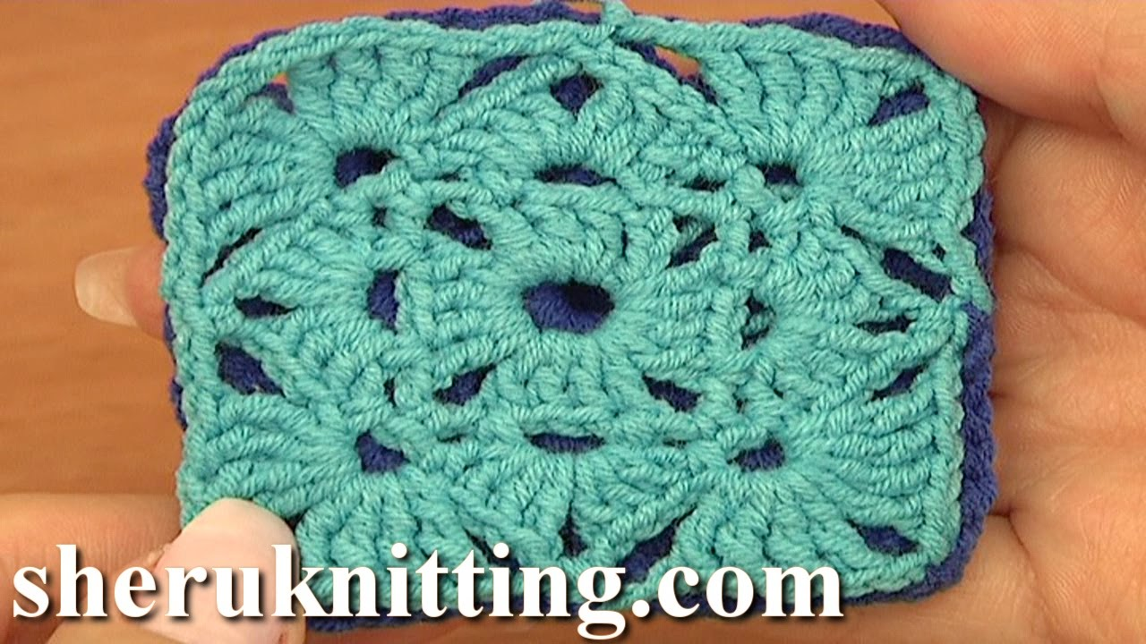 How To Crochet A Granny Square Beginners Tutorial : How To Crochet Granny Square Motif Tutorial 5 part 1 of 2 ...