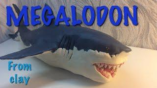 MEGALODON shark  from clay / МЕГАЛОДОН акула  из пластилина / видео лепка без комментариев